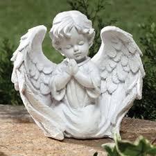 cherub garden statue outdoor indoor praying wings decor white