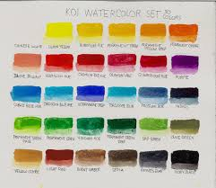color name chart for sakura koi watercolor pocket field set 30