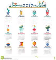 cute calendar template for 2017 beautiful funny illustrations