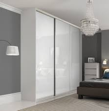 Smoked Mirrored Bedroom Furniture Premium Midi Single Panel Sliding Wardrobe Doors In Pure White