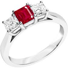 gemstone rings ruby images Three stone ruby diamond ring in 18ct white gold pdr462w png