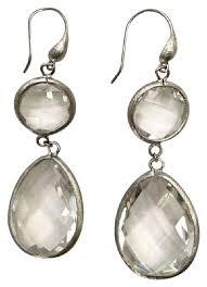 rivka friedman earrings rivka friedman silver clear white semi precious stones earrings