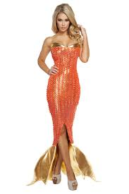 roma orange gold seductive ocean siren mermaid halloween