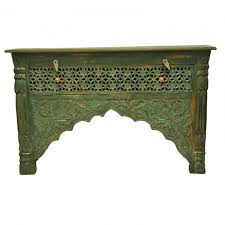 Green Console Table Carved Green Console Table