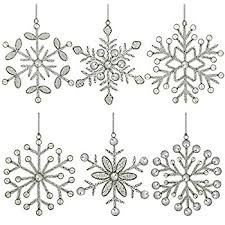 set of 6 handmade snowflake iron and glass pendant