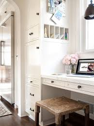 built in desk transitional kitchen bhg