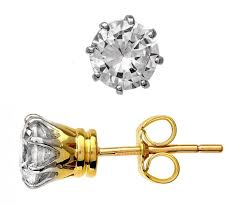 gold stud earrings uk 18 ct gold solitaire 1 5 carat diamond stud earrings only