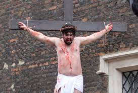 we watched devout christians crucify jesus near sports direct in
