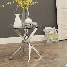 modern round end table furniture of america propel modern glass top chrome round end table