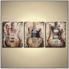guitar painting music wall art guitar wall decor brown green