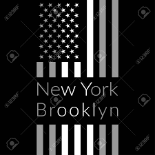 Brooklyn Flag New York Brooklyn Typography On Black Background With American