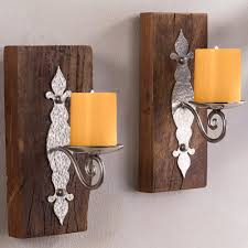 antiqued iron reclaimed wood wall sconces set of 2 vivaterra