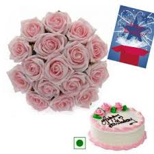 buy cake with roses n birthday card flower gifts online best