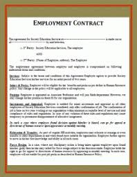 printable employment contract template free word templates