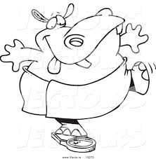 vector of a cartoon hippo trying to deceive a scale outlined