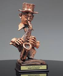 modern jazz band saxophone player trophies corporate awards
