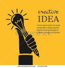 creative ideas concept holding pencil stock vector 553182328