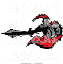 vector of a roman cartoon spartan warrior lunging outwards with a