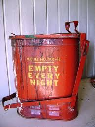 vintage industrial garbage can red metal mechanic by junquegypsy