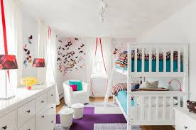 Shared Bedroom Ideas by White Wooden Metal Bunk Bed Striped Pattern Shared Boy And
