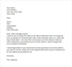 resignation letter letter of resignation sample no notice to