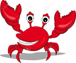 funny cartoon crab with raised hands royalty free cliparts