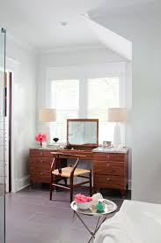 vanity table bedroom with fur stool bedroom eclectic and faux fur