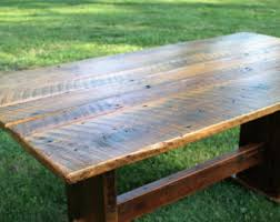 reclaimed trestle dining table rustic dining table etsy