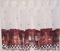 Ruffled Kitchen Curtains by Amazon Com Savory Chefs Kitchen Curtains One Ruffled Valance