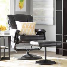 Leather Armchair With Ottoman Zipcode Design Leather Heated Reclining Massage Chair With Ottoman