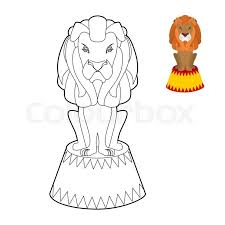 circus lion coloring book big animal linear style