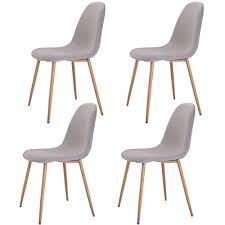 Modern Dining Chairs Giantex Dining Side Chairs Steel Legs Wood Look Fabric