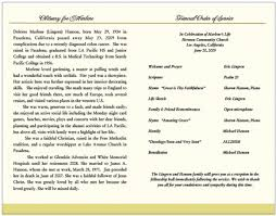 memorial program wording funeral obituary and order of service program exles