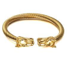 men cuff bracelet images Hip punk double dragon heads men cuff bracelet bangle gold color jpg