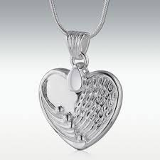 cremation jewlery wing heart sterling silver cremation jewelry engravable