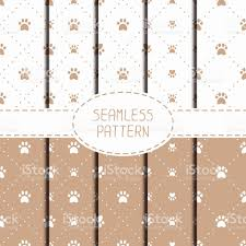 set of seamless pattern animal footprints cat wrapping paper