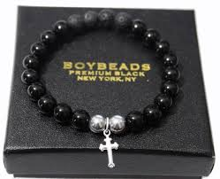 mens black bead bracelet images Boybeads quot pray to him quot men 39 s 8mm shiny black onyx bead bracelet jpg