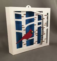 birch tree with cardinal shadow box 1st anniversary wall art
