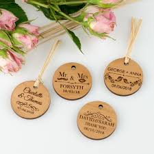 wedding gift tags engraved wooden circle gift tags personalized favors