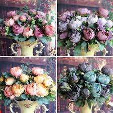 fake flowers for home decor artificial fake peony silk flowers bridal hydrangea home party