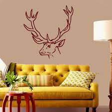 compare prices on wall decor deer horns antlers online shopping rushed removable wall art decals animals deer antler horns hunting vinyl sticker home decor the sitting