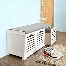 File Cabinet Seat Amazon Com Sobuy Storage Bench With 3 Drawers U0026 Seat Cushion