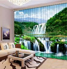 2017 curtains for living room waterfall landscape custom curtain