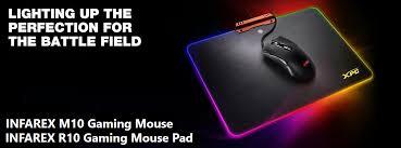 light up gaming mouse pad xpg intros infarex m10 mouse and infarex r10 mousepad combo