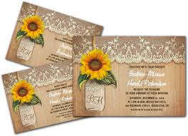 sunflower wedding invitations wedding cards and gifts vintage rustic sunflower jar
