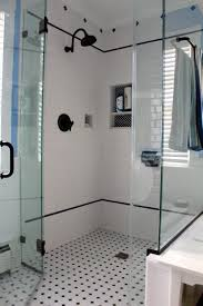 Commercial Restroom Partitions Glass Shower Cabin Partition Walls With Black Handle White Wall