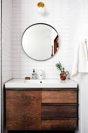 168 best bath images on pinterest room bathroom ideas and bath wood vanity white tile round mirror live this simple modern bathroom design