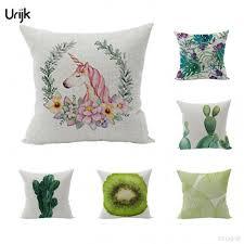 coussin décoratif pour canapé urijk 1 pc tissé linge fruit cactus licorne imprimé housse de