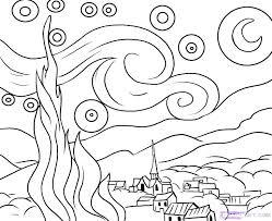 coloring page for van van gogh coloring page van coloring pages starry night coloring