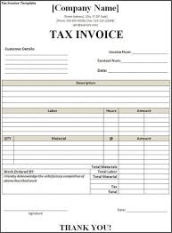 Template For Invoice Word Tax Invoice Template Word Resume No Experience High School